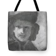 Charcoal Study Of Rembrandt  Self-portrait With Velvet Beret Tote Bag