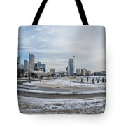 Charlotte North Carolina Skyline In Winter Tote Bag
