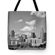 Charlotte Skyline In Black And White Tote Bag
