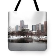 Charlotte Skyline In Snow Tote Bag