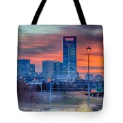 Charlotte The Queen City Skyline At Sunrise Tote Bag