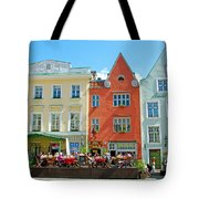 Charming Town Square In Old Town Tallinn-estonia Tote Bag