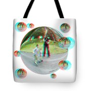Chasing Bubbles - Red/cyan Filtered 3d Glasses Required Tote Bag