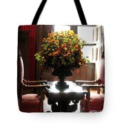 Chateau De Chenonceau Flowers And Chairs Tote Bag