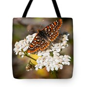 Checkerspot Butterfly On A Yarrow Blossom Tote Bag