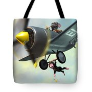 Cheeky Monkey Hanging From Plane Tote Bag by Martin Davey