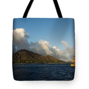 Cheerful Orange Catamaran And Diamond Head - Waikiki - Hawaii Tote Bag
