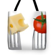 Cheese And Tomato On Forks Against White Tote Bag