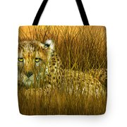 Cheetah - In The Wild Grass Tote Bag