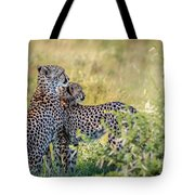 Cheetah Mother And Son Tote Bag