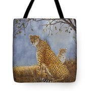 Cheetah With Cub Tote Bag