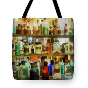 Chemistry - Bottles Of Chemicals Green And Brown Tote Bag