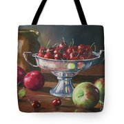 Cherries In Silver Bowl Tote Bag