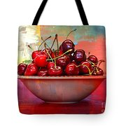 Cherries On The Table With Textures Tote Bag