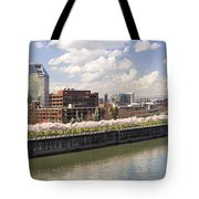 Cherry Blossom Along Portland Oregon Waterfront Panorama Tote Bag
