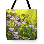 Cherry Blossom And Rapeseed Tote Bag