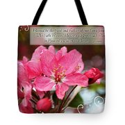 Cherry Blossom Greeting Card With Verse Tote Bag