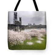 Cherry Blossoms Along Willamette River Tote Bag