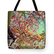 Cherry Blossoms And A Life Quote Tote Bag