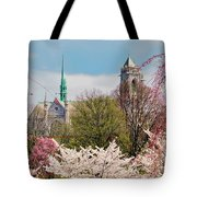 Cherry Blossoms And The Sacred Heart Tote Bag