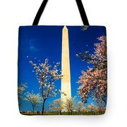 Cherry Blossoms At The Monument Tote Bag