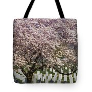 Cherry Blossoms Grace Arlington National Cemetery Tote Bag