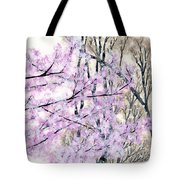 Cherry Blossoms In Spring Snow Tote Bag