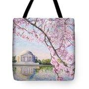Jefferson Memorial Cherry Blossoms Tote Bag
