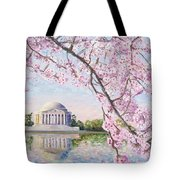 Jefferson Memorial Cherry Blossoms Tote Bag