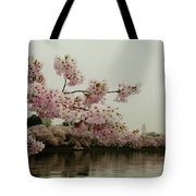 Cherry Blossoms On A Foggy Morning Tote Bag