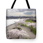 Cherry Blossoms Trees Along Willamette River Waterfront Tote Bag
