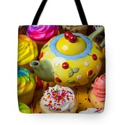 Cherry Teapot And Cupcakes Tote Bag