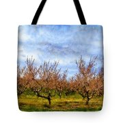 Cherry Trees With Blue Sky Tote Bag