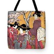 Cherry-viewing At Gotenyama Tote Bag