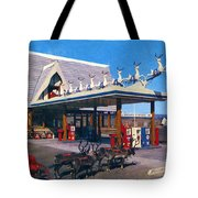 Chevron Gas Station At Santa's Village With Reindeer And Carl Hansen Tote Bag
