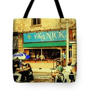 Chez Nick On Greene Avenue Montreal In Summer Cafe Art Westmount Terrace Bistros And Umbrellas Tote Bag