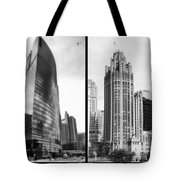 Chicago 333 And The Tower 2 Panel Bw Tote Bag