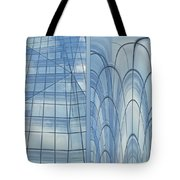 Chicago Abstract Before And After Blue Glass 2 Panel Tote Bag