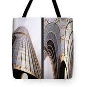 Chicago Abstract Before And After Sunrays On Trump Tower 2 Panel Tote Bag