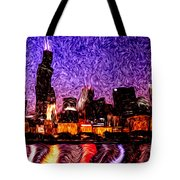 Chicago At Night Digital Art Tote Bag by Paul Velgos