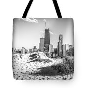Chicago Beach And Skyline Black And White Photo Tote Bag