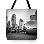 Chicago Bean And Chicago Skyline In Black And White Tote Bag