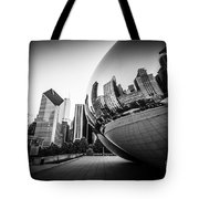 Chicago Bean Cloud Gate In Black And White Tote Bag by Paul Velgos