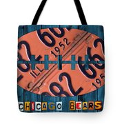 Chicago Bears Football Recycled License Plate Art Tote Bag