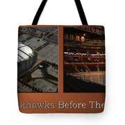 Chicago Blackhawks Before The Gates Open Interior 2 Panel Tan Tote Bag