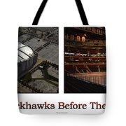 Chicago Blackhawks Before The Gates Open Interior 2 Panel White 01 Tote Bag
