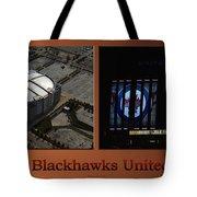 Chicago Blackhawks United Center Signage 2 Panel Tan Tote Bag