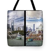 Chicago Buckingham Fountain 2 Panel Looking West And North Black Tote Bag