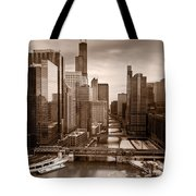 Chicago City View Afternoon B And W Tote Bag