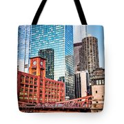 Chicago Downtown At Lasalle Street Bridge Tote Bag